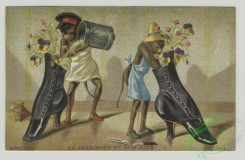 prang_cards_animals-00220 - 1507-(A calendar and trade cards depicting landscapes of a river and ocean, monkeys painting shoes and using shoes as-a chair, highchair and flower con 102127