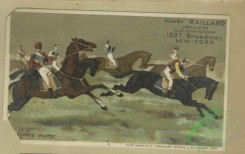 prang_cards_animals-00239 - 1646-Trade cards depicting jockeys, horses, soldiers, a duchess, a wedding, a horse race, running, crying, flowers personified and children in high chairs 102816