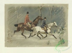 prang_cards_animals-00252 - 1689-Cards depicting horseback riding, horse drawn carriages, China, a boy delivering a letter, a couple missing the train, a figure riding a turkey and a 103086