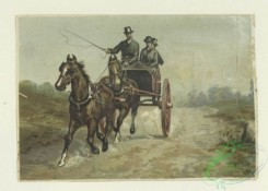 prang_cards_animals-00253 - 1689-Cards depicting horseback riding, horse drawn carriages, China, a boy delivering a letter, a couple missing the train, a figure riding a turkey and a 103087