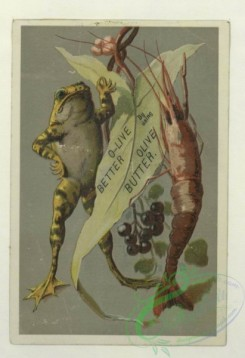 prang_cards_animals-00257 - 1692-Trade cards depicting toys, women, a donkey, a mask, a kimono, a jar of meat, a parasol, a frog, shellfish and children-playing with a cat, pointi 103125