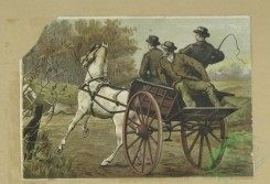prang_cards_animals-00259 - 1694-Trade cards depicting shopping, hunting, a dog, boxes, fabric, Italians, blacks, a horse and carriage, and a donkey ride 103140