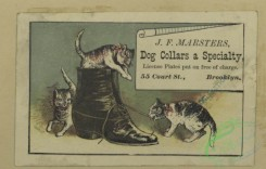 prang_cards_animals-00260 - 1696-Trade cards depicting clothing, boxes, children, men, women, birds, a musical instrument, a sled, games of chance, cats playing with a boot and the nu 103162
