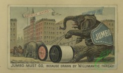prang_cards_animals-00264 - 1698-Trade cards depicting flowers, streets, men, dogs, elephants, horses, a donkey, a goat and thread 103177