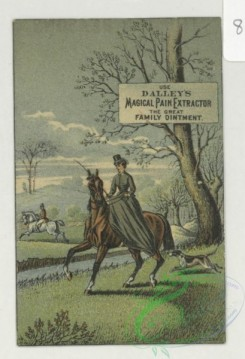 prang_cards_animals-00274 - 1749-Trade cards depicting horseback riding, a horse and carriage, hunting dogs, parasols, the beach, boats, a couple, a donkey and book reading, a cigare 103459