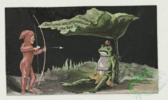 prang_cards_animals-00279 - 1756-Trade cards depicting frogs, leapfrog, a frog's laboratory and a boy dressed in red with a bow and arrow, cigarette cards entitled 'between the acts 103495