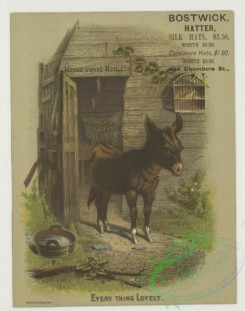 prang_cards_animals-00282 - 1761-A trade card entitled 'every thing lovely' depicting a barn and a donkey eating hay 103535