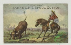 prang_cards_animals-00284 - 1772-Calendar and trade cards depicting dogs hunting a wild boar, horseback riders lassoing a bull and a horse 103592