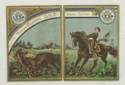 prang_cards_animals-00285 - 1772-Calendar and trade cards depicting dogs hunting a wild boar, horseback riders lassoing a bull and a horse 103594