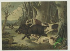 prang_cards_animals-00286 - 1772-Calendar and trade cards depicting dogs hunting a wild boar, horseback riders lassoing a bull and a horse