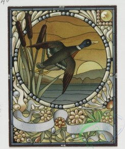 prang_cards_birds-00133 - 0427-Birthday, Christmas, New Year and Valentine cards resembling stained glass windows, depicting a mallard duck, fish, flowers, butterflies, oranges, and 105733