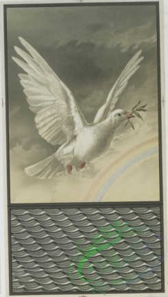prang_cards_birds-00170 - 0634-('Noah's Ark Stamps-left by the animals', dove with olive sprig in mouth, and rainbow, calendar with sun and moon.) 107049
