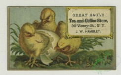 prang_cards_birds-00202 - 1392-Trade cards depicting a hatching chick, a knight, balloons, swimming, fishing from a pier, African Americans-in a farm yard, holding a gun, Americ 101572