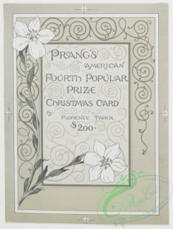 prang_cards_black-and-white-00013 - 0142-Prize Christmas cards depicting mother with children, snow, flowers, butterflies, and musical instruments 101777