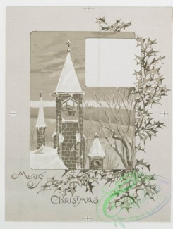 prang_cards_black-and-white-00014 - 0143-Christmas cards depicting family around Christmas tree with gifts, church bell tower, and angels 101839