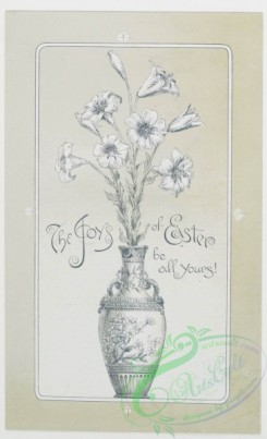 prang_cards_black-and-white-00034 - 0235-Easter cards depicting angels, birds, nests, and eggs, butterfly emerging from cocoon, vase with flowers 104202