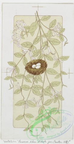 prang_cards_black-and-white-00036 - 0236-Birthday, Christmas, Easter and Valentine cards depicting flowers, a nest, a dove and a vase 104208