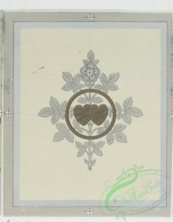 prang_cards_black-and-white-00044 - 0240-Wedding cards with decorative ornamentation, literary quotations, depicting white flowers, bells and hearts 104235