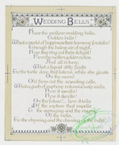 prang_cards_black-and-white-00049 - 0240-Wedding cards with decorative ornamentation, literary quotations, depicting white flowers, bells and hearts 104240