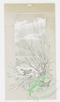 prang_cards_black-and-white-00061 - 0248-Christmas and New Year cards depicting birds in flight, snowy landscapes, and children 104312