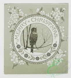 prang_cards_black-and-white-00075 - 0287-Birthday, Christmas and New Year cards depicting winter scenes, flowers, birds, a church bell and a girl's profile 104639