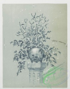 prang_cards_black-and-white-00081 - 0326-Christmas cards depicting women with flowers, holly, and vases 105079
