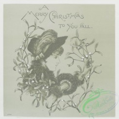 prang_cards_black-and-white-00093 - 0354-Christmas and birthday cards depicting profile of woman, flowers, and flower garlands 105233