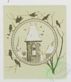 prang_cards_black-and-white-00096 - 0358-Christmas and New Year cards depicting woman sleeping, with angel, lanterns, flowers, birds, belltower 105258