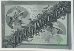 prang_cards_black-and-white-00107 - 0368-Christmas cards with quotes by Whittier, depicting women, children, bells, a fireplace, plants, knitting and singing 105321