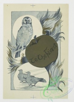 prang_cards_black-and-white-00139 - 0392-Valentines depicting women, books, flowers, owls, birds, an apple 105501
