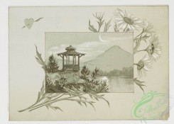 prang_cards_black-and-white-00166 - 0410-Valentines depicting young children couples on tree branches, landscapes with crescent moons, Easter cards depicting hundreds of butterflies in flight 105623