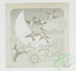 prang_cards_black-and-white-00183 - 0429-Christmas and New Year cards depicting flowers, owls, birds, and the moon 105747