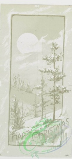 prang_cards_black-and-white-00213 - 0461-Christmas and New Year cards depicting flowers, winter scenes with snow-covered landscapes, trees, and the moon 106013