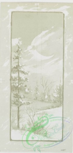 prang_cards_black-and-white-00214 - 0461-Christmas and New Year cards depicting flowers, winter scenes with snow-covered landscapes, trees, and the moon 106014