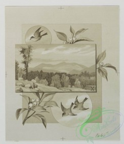 prang_cards_black-and-white-00243 - 0507-Christmas cards depicting children with old man, trees, flowers, and birds 106332