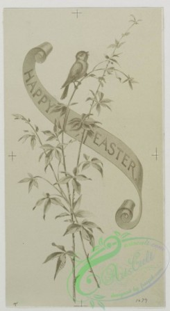 prang_cards_black-and-white-00257 - 0527-Easter cards depicting  flowers, plants, and butterflies 106443
