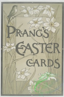 prang_cards_black-and-white-00263 - 0533-Poster with the words 'Prang's Easter cards' and depicting flowers and birds 106469