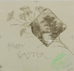 prang_cards_black-and-white-00264 - 0534-Christmas, New Year, and Easter cards depicting men and women, and children with flowers and birds 106476