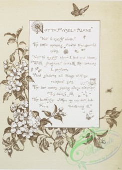 prang_cards_black-and-white-00321 - 0799-Not to Myself Alone - song lyrics with musical notes, birds, flowers, butterflies, and vines 107744