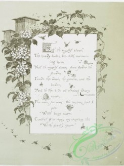 prang_cards_black-and-white-00322 - 0799-Not to Myself Alone - song lyrics with musical notes, birds, flowers, butterflies, and vines 107745