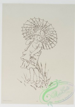 prang_cards_black-and-white-00327 - 0828-Sketches of young girls, with flowers, parasol 107866