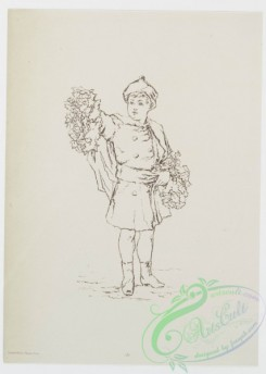 prang_cards_black-and-white-00328 - 0828-Sketches of young girls, with flowers, parasol 107867