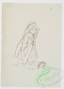 prang_cards_black-and-white-00329 - 0828-Sketches of young girls, with flowers, parasol 107868
