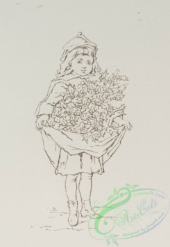 prang_cards_black-and-white-00333 - 0832-Sketches of young girls, with flowers, baskets, potted plants 107890