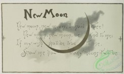 prang_cards_black-and-white-00371 - 0841-Ye booke of goode luck- cards with text, depicting new moons, four-leaved clovers, wishbones and rice 107954