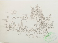 prang_cards_black-and-white-00403 - 0893-Outlines for farm scene print depicting dog, geese, cows, chickens, and chicks 108158