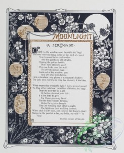 prang_cards_black-and-white-00437 - 0967-(The golden flower- cards titled 'moonlight' and 'October beauty' with text by Richard Henry Stoddard and Robert Browning, depicting flowers, lanter 108424