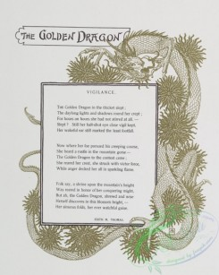 prang_cards_black-and-white-00444 - 0977-(The golden flower- cards titled the golden dragon' and 'Christmas eve' with text by Edith M. Thomas and Celia Thaxter, depicting a dragon, a woman  108473