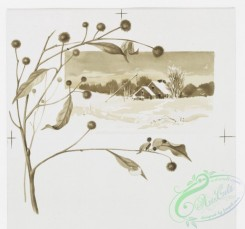 prang_cards_black-and-white-00458 - 0990-A Christmas morning- cards depicting branches, trees, holly, berries, landscapes, houses, winter, snow, a fence and the sunrise 108551