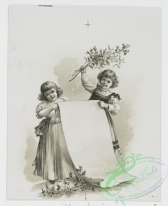prang_cards_black-and-white-00474 - 1009-Cards entitled 'Pency's surprise,' 'Christmas song,' 'my Christmas fete' and 'baby's first Christmas,' depicting a vase of flowers, children reading,  100019
